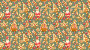 Preview wallpaper christmas, new year, gingerbread, snowman, santa claus