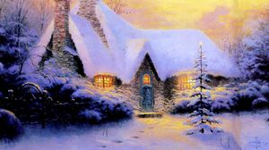 Preview wallpaper christmas, new year, house, fur-tree, snow, winter, light, stone