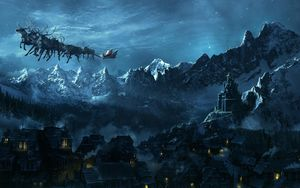 Preview wallpaper christmas, sleigh, flying, santa claus, city, mountain, holiday