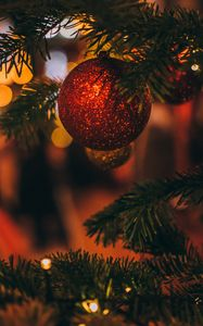 Preview wallpaper christmas toy, tree, christmas, new year, blur, decoration