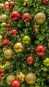 Preview wallpaper christmas tree, balls, new year, christmas, colorful