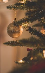 Preview wallpaper christmas tree, christmas decorations, branch, christmas