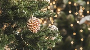 Preview wallpaper christmas tree, decorations, garlands, christmas, new year, holidays