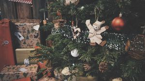 Preview wallpaper christmas tree, decorations, gifts, christmas