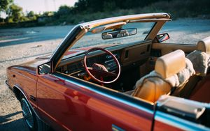 Preview wallpaper chrysler, car, red, steering wheel, salon, retro