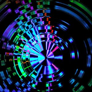Preview wallpaper circle, abstraction, blur, colorful, iridescent