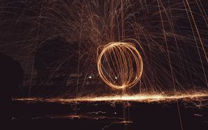 Preview wallpaper circle, light, sparks, freezelight, long exposure, abstraction
