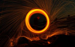 Preview wallpaper circle, sparks, freezelight, long exposure, silhouette, dark