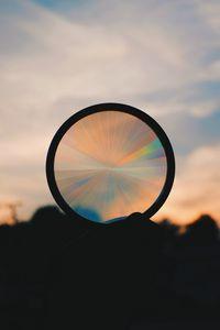 Preview wallpaper circle, sunset, rainbow, shape, dark