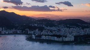 Preview wallpaper city, aerial view, clouds, rio de janeiro, brazil