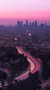 Preview wallpaper city, aerial view, road, sunset, los angeles, united states