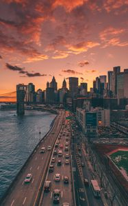 Preview wallpaper city, aerial view, road, buildings, coast