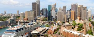 Preview wallpaper city, architecture, aerial view, buildings, cityscape