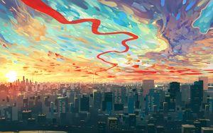 Preview wallpaper city, art, sky, buildings