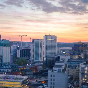 Preview wallpaper city, buildings, aerial view, architecture, twilight