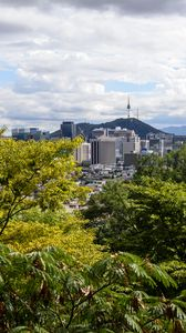 Preview wallpaper city, buildings, architecture, trees, cityscape, aerial view