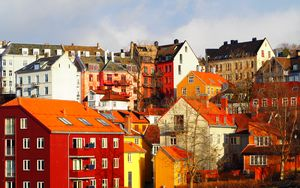 Preview wallpaper city, buildings, architecture, trees, autumn, bright