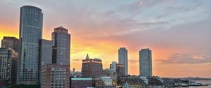 Preview wallpaper city, buildings, architecture, aerial view, sunset