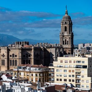 Preview wallpaper city, buildings, architecture, aerial view, malaga, spain