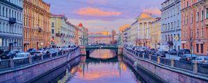 Preview wallpaper city, buildings, bridge, river, twilight, saint petersburg