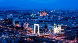 Preview wallpaper city, buildings, bridge, architecture, twilight, aerial view