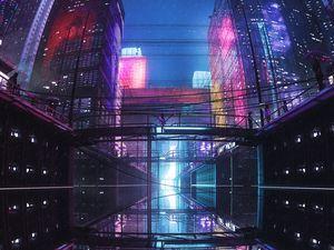 Preview wallpaper city, buildings, bridge, reflection, purple, dark