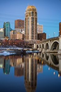 Preview wallpaper city, buildings, bridge, water, twilight