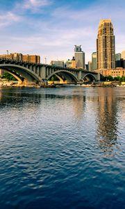 Preview wallpaper city, buildings, bridge, architecture, water