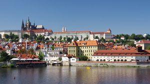 Preview wallpaper city, buildings, castle, architecture, pier, water