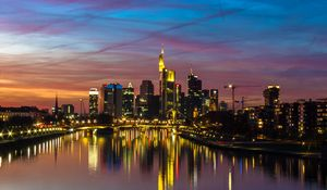 Preview wallpaper city, buildings, lake, lights, reflection, twilight