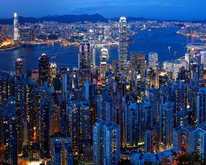 Preview wallpaper city, buildings, metropolis, lights, aerial view, twilight