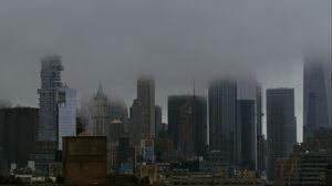 Preview wallpaper city, buildings, metropolis, fog, haze