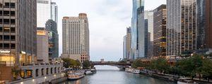 Preview wallpaper city, buildings, river, bridge, architecture