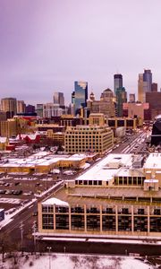 Preview wallpaper city, buildings, road, aerial view, winter