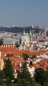 Preview wallpaper city, buildings, roofs, architecture, trees, aerial view