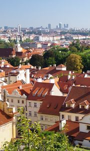 Preview wallpaper city, buildings, roofs, architecture, aerial view, trees