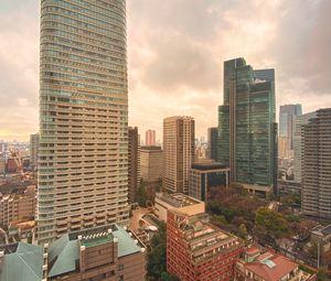 Preview wallpaper city, buildings, skyscrapers, aerial view, tokyo, japan