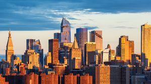 Preview wallpaper city, buildings, sunset, metropolis