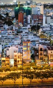 Preview wallpaper city, cityscape, buildings, aerial view, twilight
