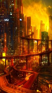 Preview wallpaper city, future, cyberpunk, architecture, night, lights, road junction