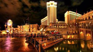 Preview wallpaper city, las vegas, hotel, venice, bridge, beautiful, bright, night, lights, lit, reflection, water