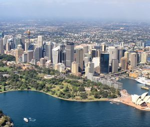 Preview wallpaper city, metropolis, skyscrapers, aerial view, sydney, australia