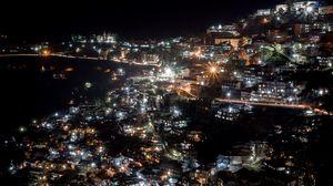 Preview wallpaper city, night, city lights, shimla manali, india
