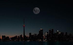 Preview wallpaper city, night, moon, buildings, water, dark