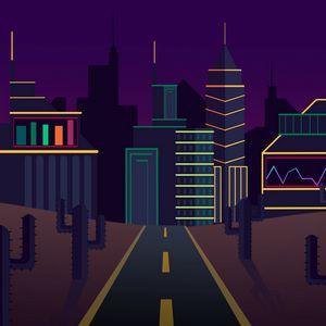 Preview wallpaper city, road, cactus