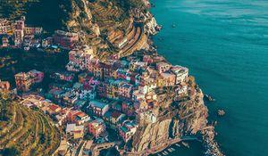 Preview wallpaper city, rocks, mountains, sea, manarola, italy