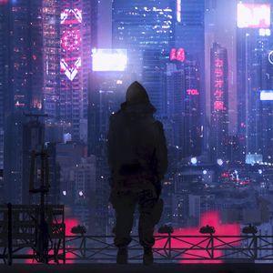 Preview wallpaper city, silhouette, art, cyberpunk, futurism, sci-fi