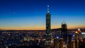 Preview wallpaper city, skyscraper, buildings, aerial view, twilight, dark