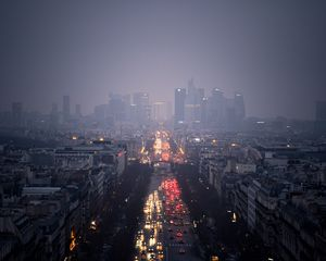 Preview wallpaper city, skyscrapers, clouds, rain, road, cars, lights