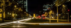 Preview wallpaper city, street, road, light, long exposure, dark